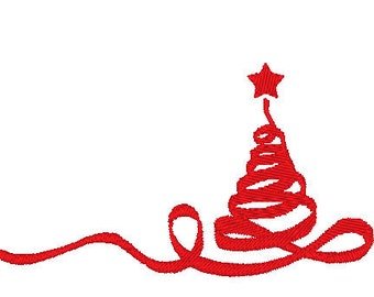 Ribbon Christmas Tree Embroidery Design File Instant Download Holiday Tree Simple