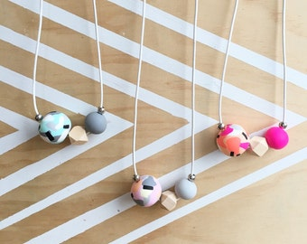 Polymer clay bead necklace. Pink grey black custard peach, statement necklace. 'The steph'