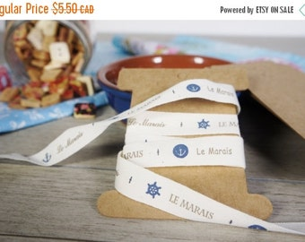 SALES 5 Meters of french style printed cotton ribbon, navy ribbons, French style ribbon, naural style woven label,  sewing ribbon, Zakka rib