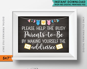 "Baby Shower Address Envelope Sign, Help the Parents-to-Be Address an envelope Shower Decor, 5x7"" Chalkboard Style Printable Instant Download"