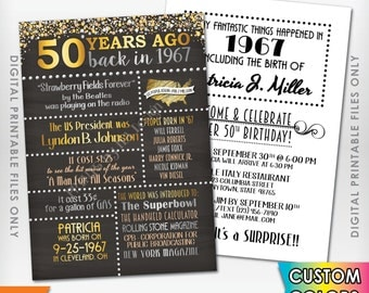 "50th Birthday Invitation 1967 Invite, Born 50 Years Ago in 1967 Birth, Flashback 50 Years Invite, 5x7"" Chalkboard Style Digital Printables"
