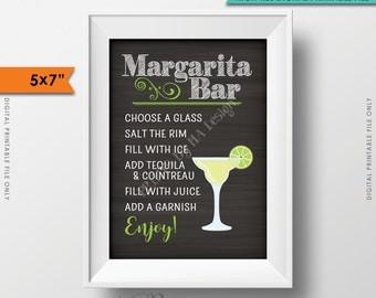 "Margarita Bar Sign, Make your own Margarita, Salted Rim Tequila & Cointreau, Wedding Chalkboard, 5x7"" Instant Download Digital Printable"