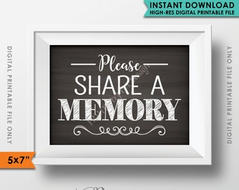 """Please Share a Memory Sign, Leave a Memory, Share Memories Chalkboard Party Decor, Birthday, 5x7"""" Instant Download Digital Printable File"""