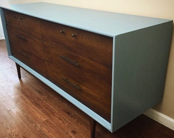 SOLD***Mid-Century Two Tone Dresser Credenza