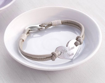 Personalised Heart Leather Bracelet