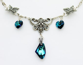 Blue butterfly vintage gothic victorian swarovski crystal necklace