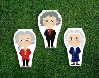 Magnetic Bookmark | Mozart Beethoven Bach Magnet Cute Book Bookmarks Pack of 3, Magnetic Cute Quirky Kawaii Classical Music Composers