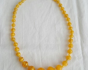 Vintage Yellow Marble Glass Necklace