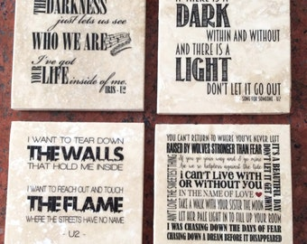 U2 lyrics coasters, set of 4, 4 x 4, tumbled marble tiles with cork backing: also available in prints or canvas
