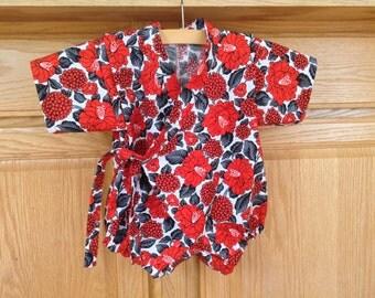 Red Baby Kimono, Red Flower Kimono, Red Grey Kimono, Red Grey Black Baby Kimono, Baby Kimono Bodysuit, Baby Jinbei, 0-3 Mo, 3-6 Mo, 6-12 Mo