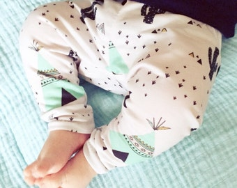 Baby legging teepee mint - organic cotton