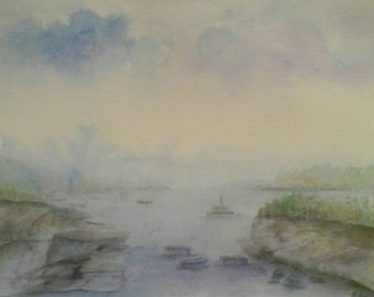 Original Impressionist Watercolour Landscape Painting of a lake hand made signed