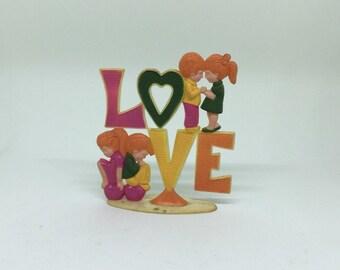 70s Vtg CAKE TOPPER Boy + Girl LOVE Retro Hearts