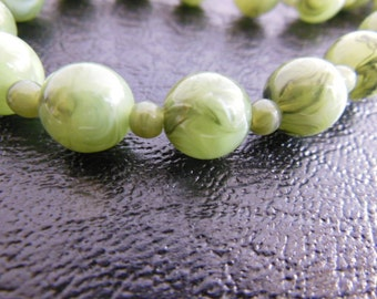 """Glass Bead Necklace Green Vintage Jade Green 27"""" Long"""