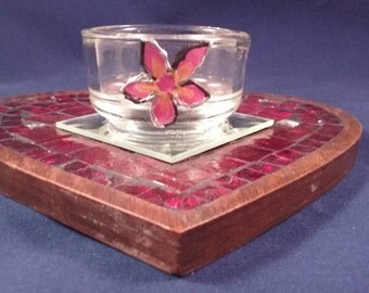 Red Mosaic Wood Heart Hand Painted Floral Glass Candle Holder Mother's Day Gift By WimsicalGlassography