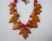 Reserve for Dean !   Golden Autumn leaf polymer clay jewelry multicolor art necklace Yellow leaf clay autumn jewelry