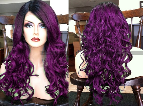 Purple And Black Lace Front Wig 26