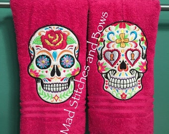 Custom embroidered sugar skulls/ Day of the dead hand towels set of two