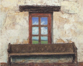 Reflection - small original pastel painting California mission historic window bench adobe wall