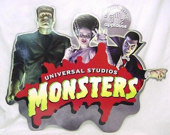 Universal Monsters Store Display sign with Frankenstein Bride of Frankenstein & Dracula MINT