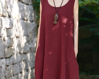 Womens Loose Fitting Sleeveless Cotton And Linen Jumper Dress, Linen Dress, Cotton Dress, Womens Dresses, Casual Dress, Burgundy Dress