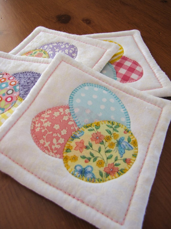 Easter mug rugs fabric coasters easter wikii quilted easter coasters set of four easter egg coasters quilted coaster set easter hostess gift this set of four quilted coasters are perfect for your negle Images