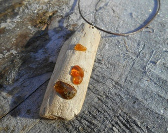 Driftwood pendant, wooden and amber pendant, rustic necklace