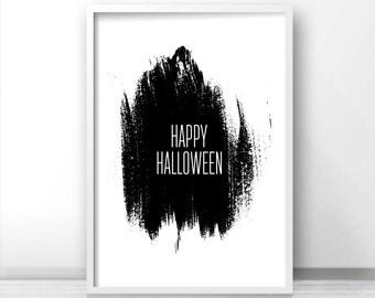 Printable Halloween Decor, Happy Halloween Print, Instant Download Halloween Printables, Fall Print, Black And White Halloween Wall Art 8x10