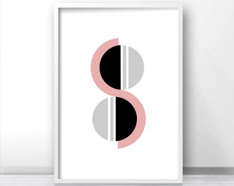 Abstract Art Print, Pink, Gray and Black Geometric Wall Art,  Abstract Print, Instant Download Geometric Wall Print, Printable Abstract Art