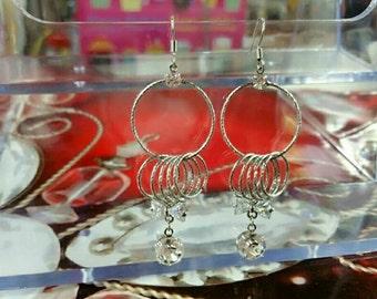 Silver ring drop earring  lead free