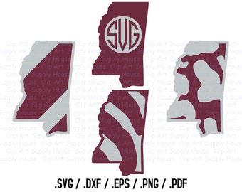 Mississippi Svg State Outline, Mississippi SVG File, DXF File, Cricut Design Space, Ole Miss Silhouette Digital Cut Files - CA208