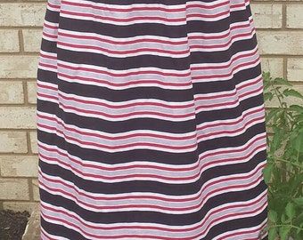 Red, black, white and gray striped skirt