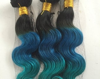 Blue Ombre Hair Extensions,Three Colors Ombre hair extension,Indian remy hair extensions,Dip dye Hair Extensions,3 bundles hair weft one set