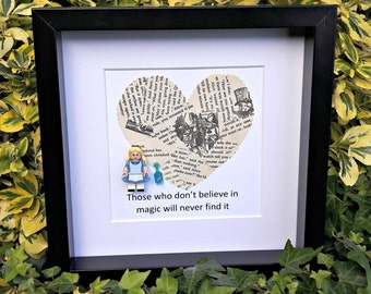 Alice in Wonderland, Confetti Art, Framed Minifigure, Gift for Her, Literary Gift, Believe in Magic, Book Themed Gift, Library Decor, Quirky