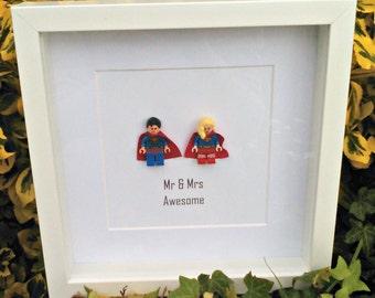 Superman, Supergirl, Mr & Mrs Awesome, Couples Gift, Wedding Gift, Anniversary Idea, Superhero, Framed Minifigures, Nerdy Couple, Geekery