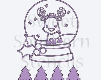 Reindeer Snow Globe PYO Cookie Stencil