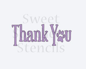 Thank You with Paw Print Cookie Stencil