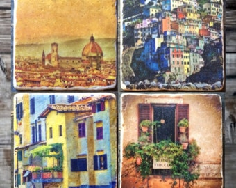 Views of Italy Tile Set x4