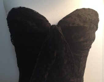 Flamingo Brand Black Lace Cropped Bustier Top with Front Bow, True Vintage Circa 1980's Small