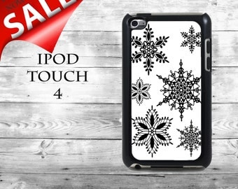 Snowflake Pattern case - SALE iPod Touch 4G case - Winter black & white snowflakes pattern lace ornament iPod Touch case,  iPod cover