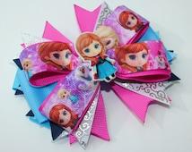 Frozen Bow, Frozen Hair Bow, Frozen Anna OTT hair bow, Frozen Fever Anna hair bow, Anna boutique bow Anna stacked bow Frozen Fever Anna bow