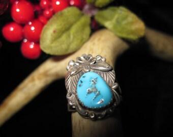 Beautiful Turquoise Stone Ring Maker Signed