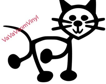 Stick Cat Vinyl Decal, Stick Cat Car Decal, Cat Car Decal,Vinyl Decal, Kitty Decal, Cat Decal, Custom Decal, Personalized Decal, Car Decal