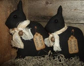 Primitive Black Netherland Dwarf Rabbit Bunny PAIR folk art rustic tucks ornies  OFG HAFAIR Teams
