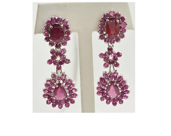 Sterling Silver and Rubies pierced post dangle earrings with omega back 25 grams