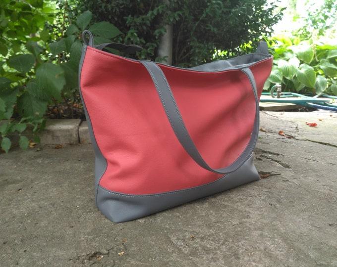 Grey tote bag, Large Crossbody, Vegan Pink ang Grey bag, Handbag Woman, Shoulder Bag