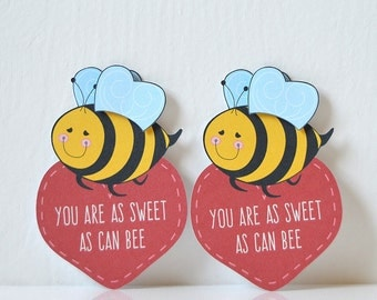 Mini Bee Valentine's Cards Set of 12: kids cards, school valentines, will you bee nine, children, class, teacher, valentine party - LRD004V