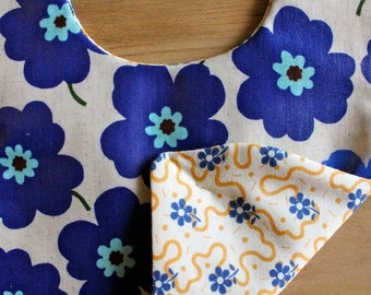 Bright BLUE poppy flowers, water resistant baby bib