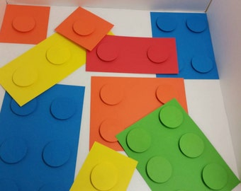 Building Block Birthday Decorations. Set of 10