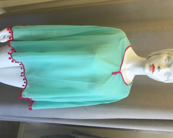 Beach Dress Turquoise Kimono Turquoise Pink Boho Chic Kaftan Beach Cover Up Beach Kimono Coverup Swimsuit Cover Up Pom Pom Fringe Cover Up